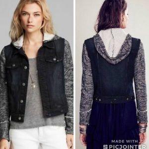 Free People Denim/Sweater Hooded Jacket